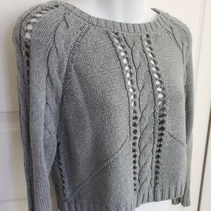 Bar III crop cable knit sweater. Size extra small